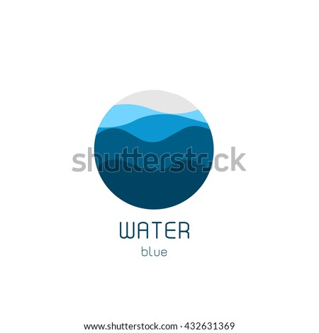 Isolated round shape logo. Blue color logotype. Flowing water image. Sea, ocean, river surface. stock photo