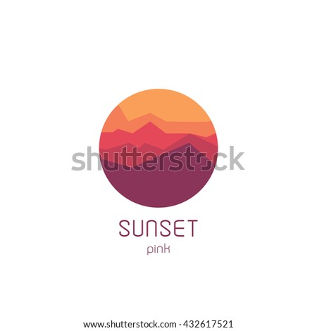 isolated round sunset vector