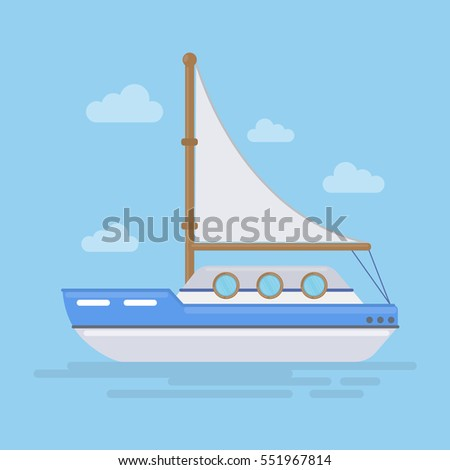 Isolated sailing boat in the sea or ocean. Yacht for traveling. Beautiful sea landscape.