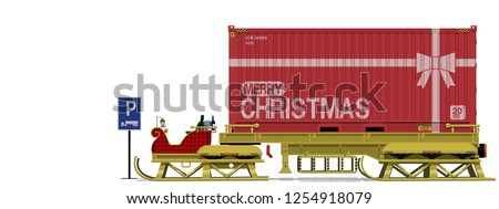 Isolated Santa's sleigh with trailer at the parking area - Shutterstock ID 1254918079