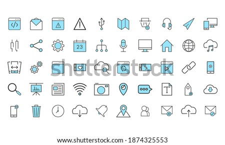 Isolated set group of computers tecnology online icon- Vector Foto stock ©