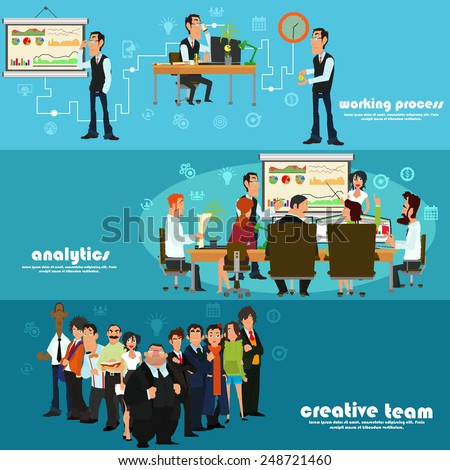 isolated set of banners: Office working process, analytic results presentation and creative team. vector illustration of a flat style.