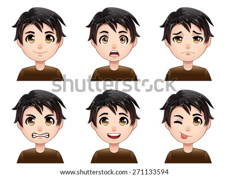 isolated set of color cartoon
