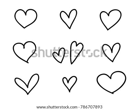 isolated set of coloring childish hand drawn heart symbols  line art vector design