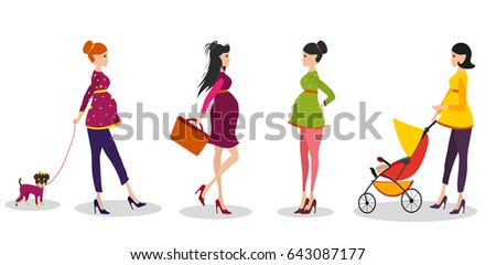 Isolated set of illustrations mom