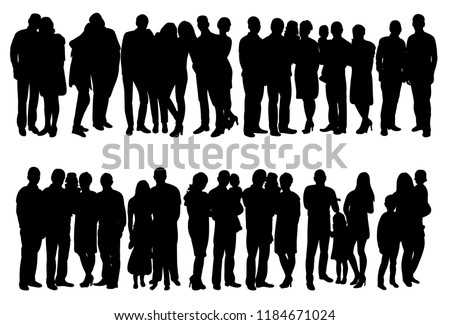 isolated, set of people crowd silhouette