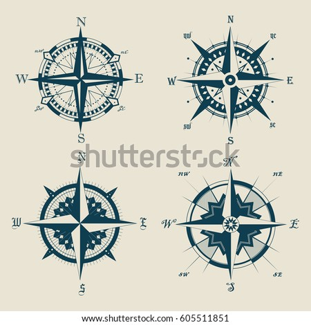 Isolated set of retro compass, antique navigation compass or vintage wind rose. Sea or ocean guidance old device. Water travel and nautical, marine and ship, sailing and nautical, heraldry theme