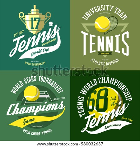 isolated set of tennis icons