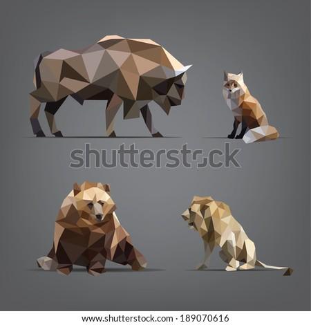 isolated set of wild animals in