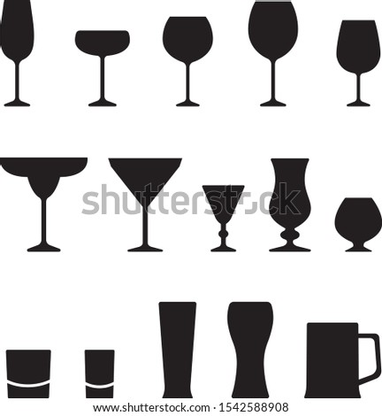 isolated set of wine glasses