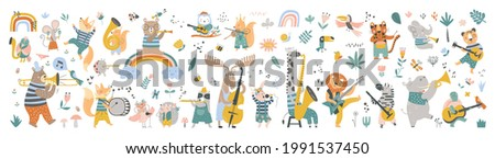 Isolated set with cute animals playing on different music instruments in Scandinavian style. Cartoon animals playing music. Ideal kids design, for fabric, wrapping, textile, wallpaper, apparel