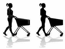 isolated silhouette of a shopping woman with a cart, black and white drawing, white background