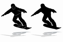 isolated silhouette of a snowboarder , black and white drawing, white background