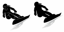 isolated silhouette of a woman snowboarder , black and white drawing, white background
