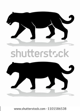 isolated silhouette of panther , black and white drawing, white background