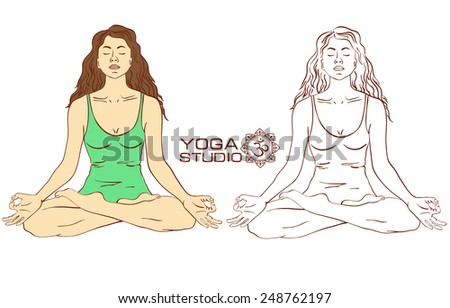 Isolated Silhouette Of Young Woman Sitting On Lotus Yoga Pose Color And Sketch Version