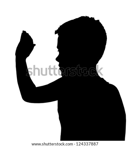 Isolated Silhouetted Boy Child Gesture and Activity High 5 Wave