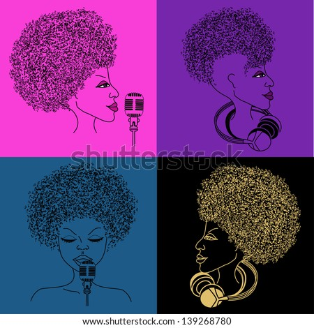 Isolated singer icon with musical notes hair on the bright colorful background