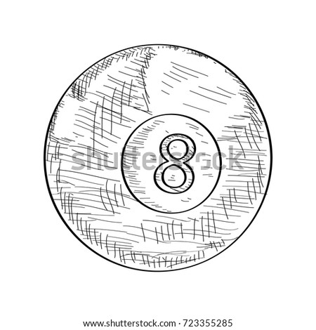 Stock Photo Isolated sketch of a billiard ball, Vector illustration
