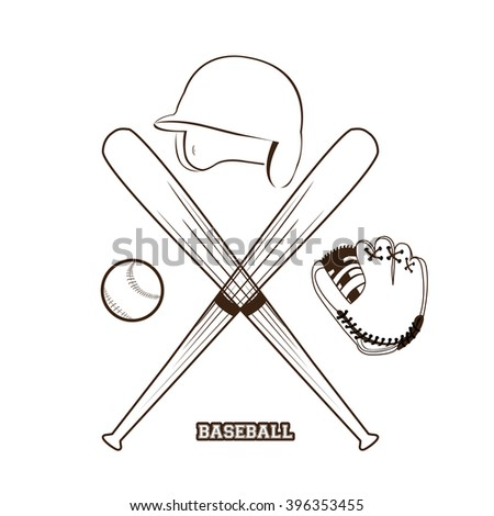 Isolated sketch of different baseball elements on a white background