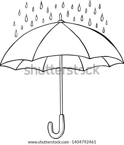 Isolated sketched umbrella. Vector illustration