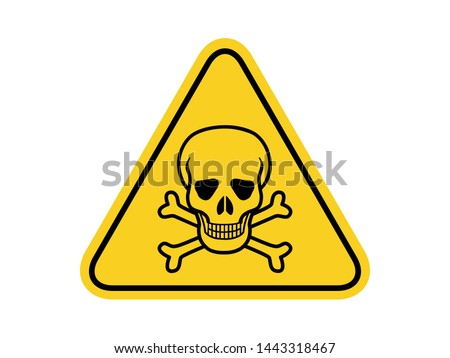 isolated Skull and crossbones, common hazards symbols on yellow round triangle board warning sign for icon, label, logo or package industry etc. flat vector design.