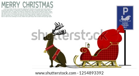 Isolated sleigh with reindeer at the parking area - Shutterstock ID 1254893392