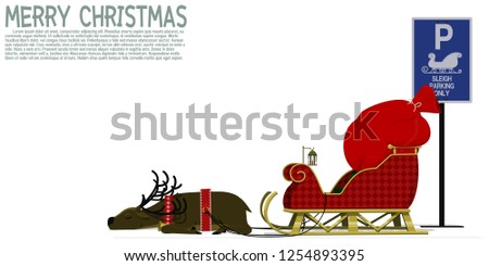 Isolated sleigh with reindeer at the parking area - Shutterstock ID 1254893395