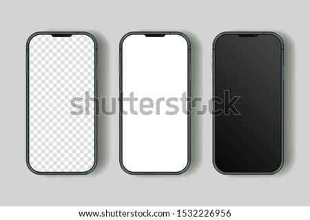 Isolated smart phone 11 12 pro realistic with blank screen. High quality vector