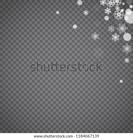 Isolated snowflakes on transparent grey background. Winter sales, Christmas and New Year design for party invitation, banner, sale. Winter snow window. Magic crystal isolated snowflakes. Silver flakes