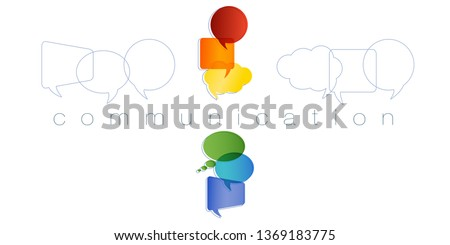 Isolated Speech bubble with rainbow colors. Text communication. Communication and network concept. Online community. Friends chatting. Contacts and online marketing. Vector