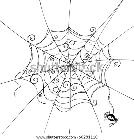 Isolated spooky spider web in a fun way