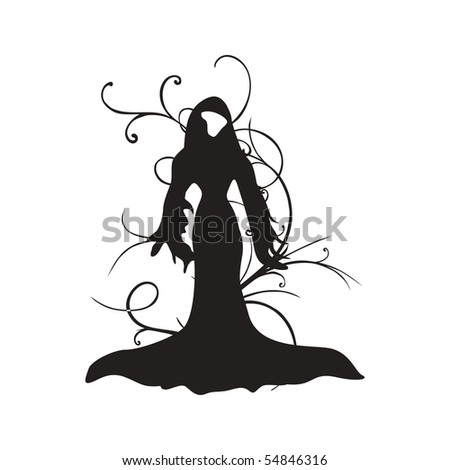 isolated spooky witch on white background