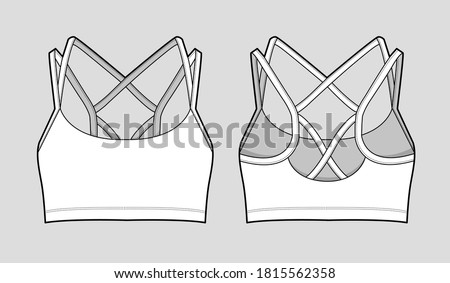 Isolated Sports Bra with a Strappy back. Fashion Cad design. Flat sketches technical drawings Illustrator vector template. Photo stock ©
