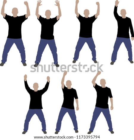 isolated standing men with hands up