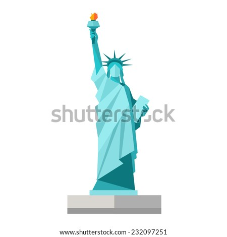 Shutterstock Isolated statue of liberty on white background. Flat style. Vector illustration
