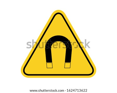 isolated  strong magnetic field, common hazards symbols on yellow round triangle board warning sign for icon, label, logo or package industry etc. flat vector design.