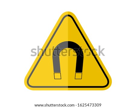isolated  strong magnetic field, common hazards symbols on yellow round triangle board warning sign for icon, label, logo or package industry etc. flat paperwork style vector design.