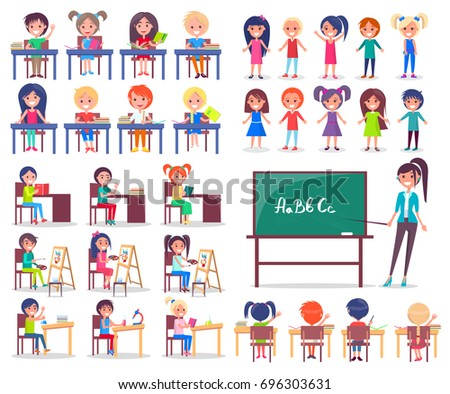 Isolated student sitting at desks and standing teacher explaining new topic vector colorful illustration in graphic design on white