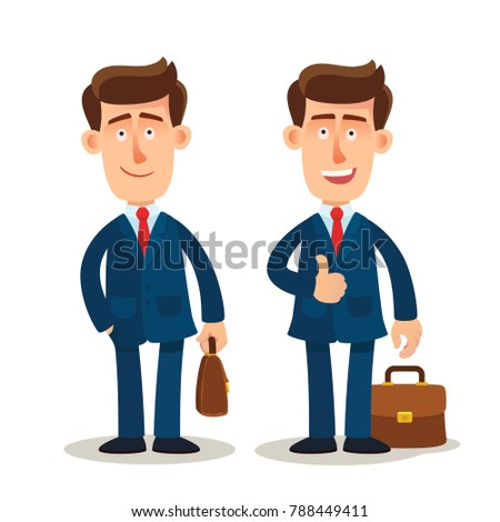 Isolated successful and happy businessman. Businessman character design.