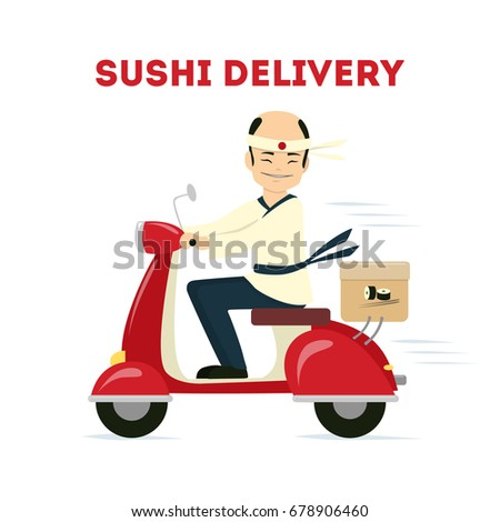 Isolated sushi delivery.