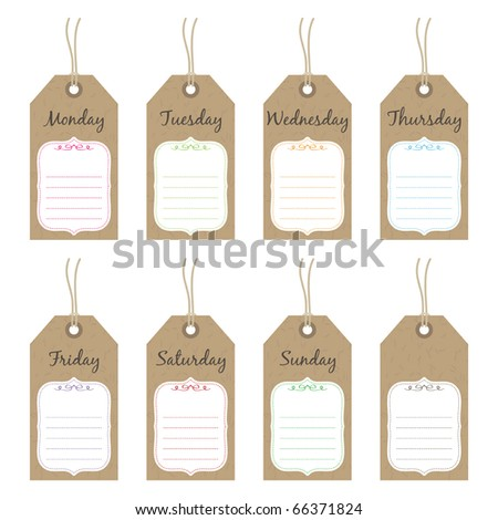 isolated tags with days of the week ready for text, vector illustration - stock vector
