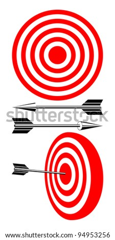 Isolated Target on a white background. A red-white Target and Black Arrows.