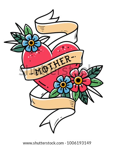 Isolated tattoo red heart with ribbon, flowers and lettering Mother. Ribbon wraps around red heart. Old school style. Retro tattoo.