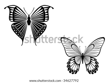 Black And White Butterfly Tattoos. lack butterfly on white
