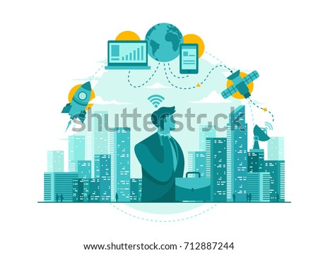 Isolated Telecommunication Technology Start Up Business Concept Illustration