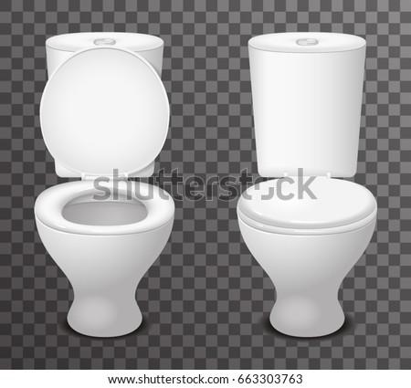 Isolated toilet ceramic seat open closed 3d icon realistic design vector illustration