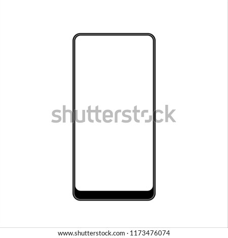 Isolated touchscreen black smartphone with bottom bezel on white background Illustration. Vector image of latest design in bezel less smartphone industry. EPS10 compatible