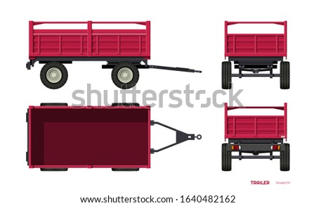 Isolated tractor trailer. Side, front, back and top view of agriculture machinery. Farming machinery in cartoon style. Industrial 3d blueprint. Vector illustration