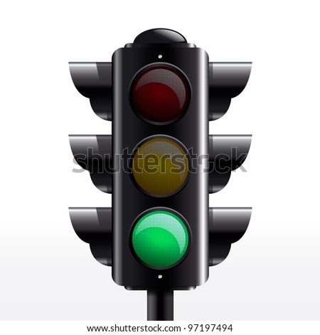 isolated traffic light green
